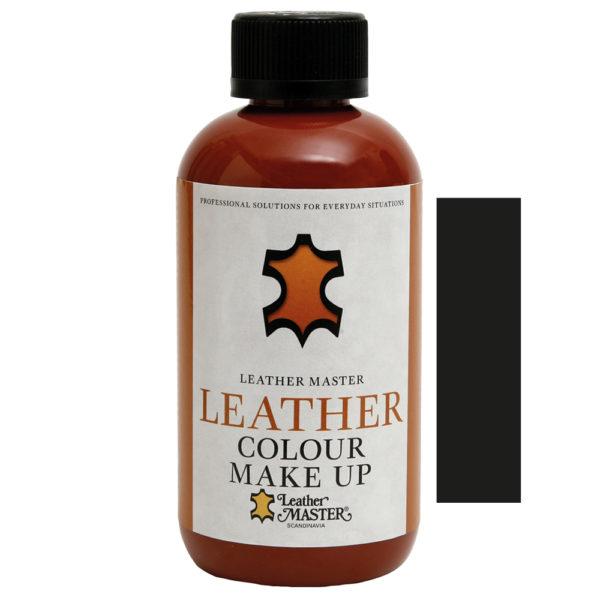 Genomskinlig flaska med svart kork innehållande Leather Colour Make Up Svart