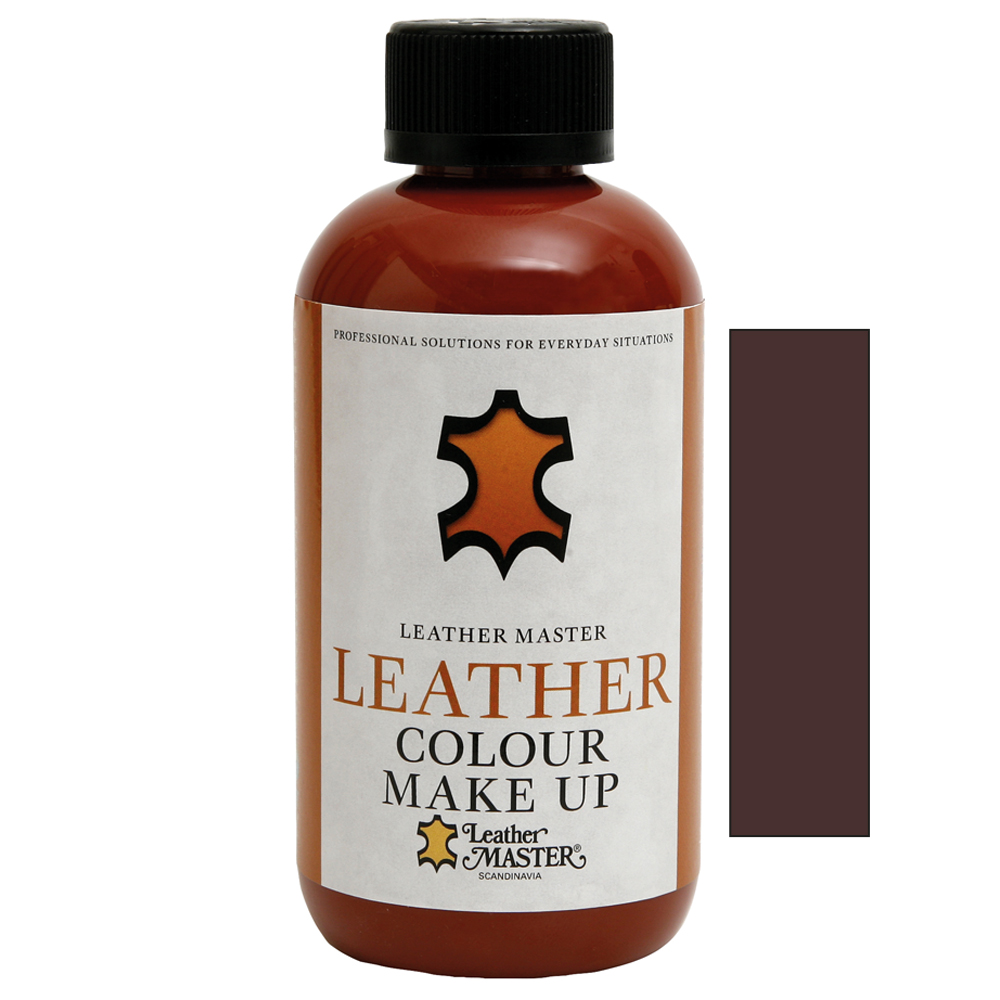 Genomskinlig flaska med svart kork innehållande Leather Colour Make Up Dark Brown