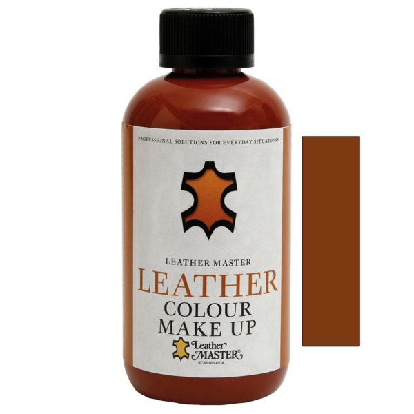 Genomskinlig flaska med svart kork innehållande Leather Colour Make Up Light Brown