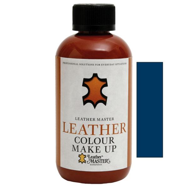 Genomskinlig flaska med svart kork innehållande Leather Colour Make Up Blue
