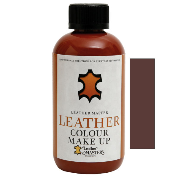 Genomskinlig flaska med svart kork innehållande Leather Colour Make Up Medium Brown