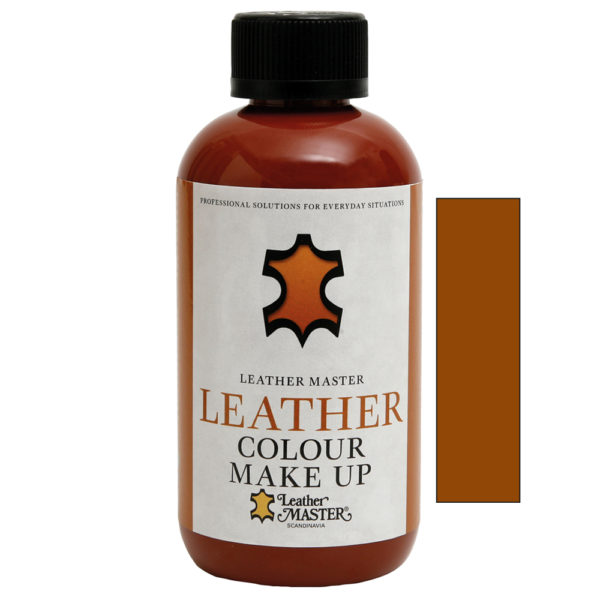 Genomskinlig flaska med svart kork innehållande Leather Colour Make Up Mexico