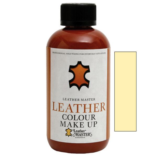 Genomskinlig flaska med svart kork innehållande Leather Colour Make Up Off-White
