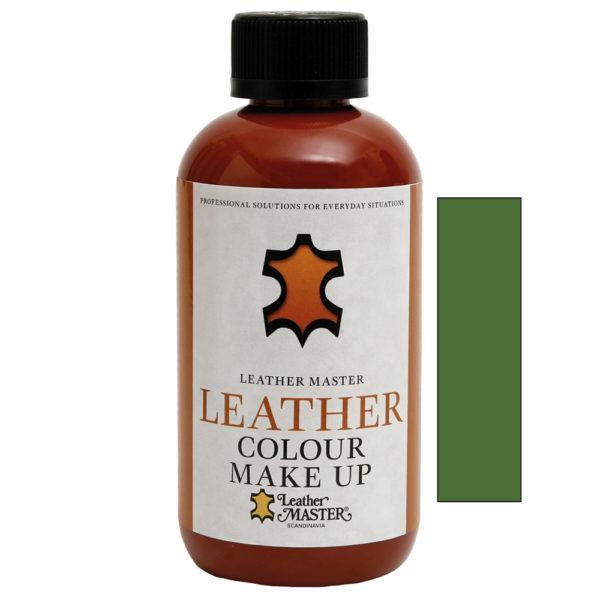 Genomskinlig flaska med svart kork innehållande Leather Colour Make Up Olive-Green