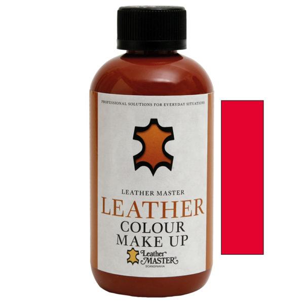 Genomskinlig flaska med svart kork innehållande Leather Colour Make Up Red