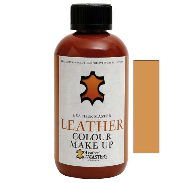 Genomskinlig flaska med svart kork innehållande Leather Colour Make Up Yellow Brown