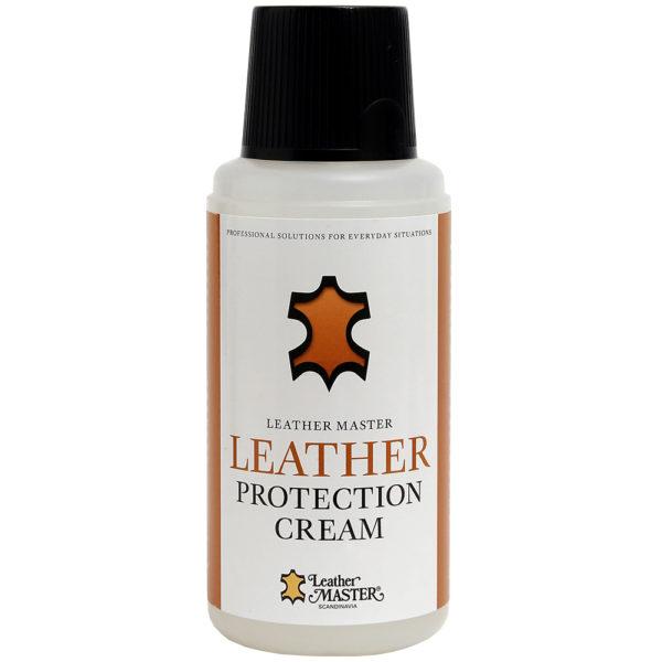 Genomskinlig flaska med svart kork innehållande Leather Protection Cream
