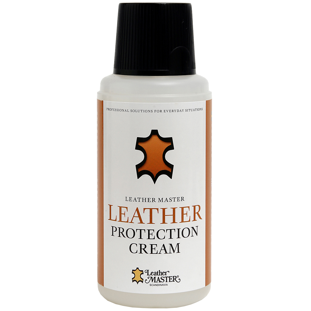 Genomskinlig flaska med svart kork innehållande Leather Protection Cream