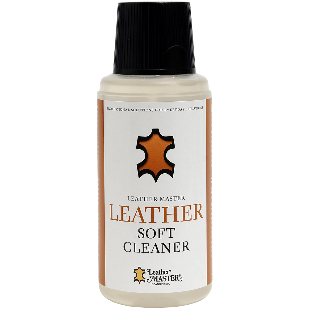 Genomskinlig flaska med svart kork innehållande Leather Soft Cleaner