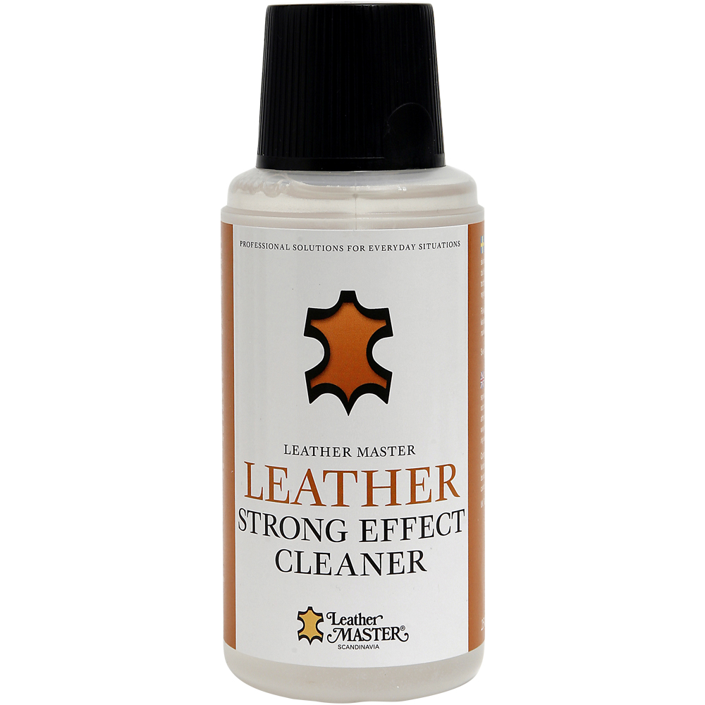 Genomskinlig flaska med svart kork innehållande Leather Strong Effect Cleaner