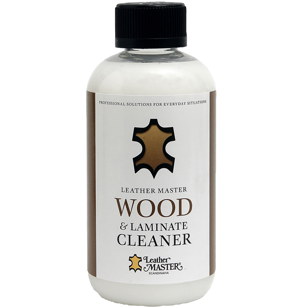 Genomskinlig flaska med svart kork med Wood & Laminate Cleaner