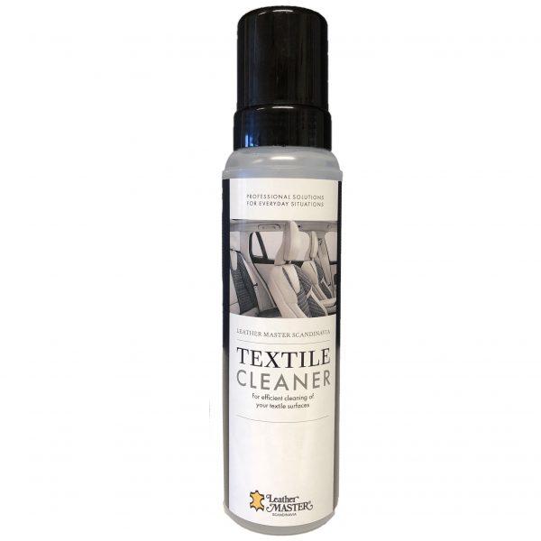 Produktflaska med bilinredning i textil på etiketten