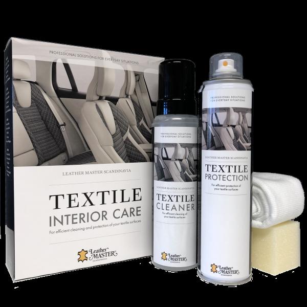 Kit med flaskor och verktyg för rengöring och skydd för textil